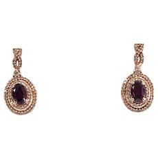Rhodalite Garnet and Diamond Halo Dangle Earrings in 14K Rose Gold