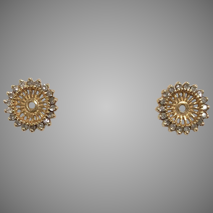 Vintage Stud Earring Jackets With Diamonds In 14k Yellow Gold