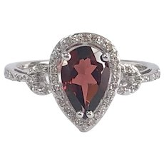 Pear Shape Garnet and Diamond Halo Ring in 14K White Gold