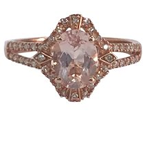 Oval Morganite and Diamond Halo Ring in 10K Rose Gold