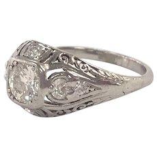 Antique Edwardian Platinum & Bezel Set European Cut Diamond Ring