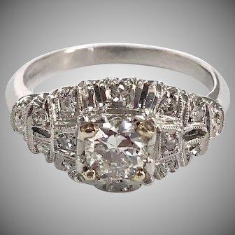 Vintage 1920s Platinum & Diamond Engagement Ring 0.5 ct Center In Illusion Head