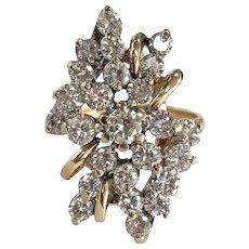 Vintage 25 Diamond Waterfall Ring in 14K Yellow Gold