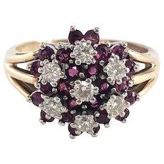 Vintage Ruby & Diamond Cluster Flower Ring in 14K Gold