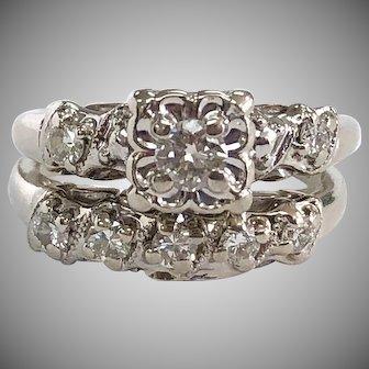 Vintage Illusion 3 Stone Diamond Wedding Ring & 5 Stone Band - 14K White Gold