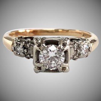 Vintage Illusion Set 3 Stone Diamond Engagement Ring in 14K Yellow Gold