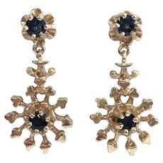 Vintage Custom Blue Sapphire Dangle Drop Earrings in 14K Yellow Gold