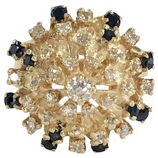 """Diamond and Sapphire """"Bombe"""" Ring in 14K Yellow Gold"""
