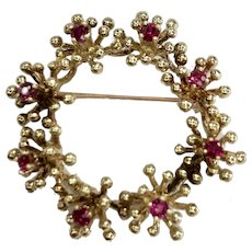 Wreath Brooch/Pendant with Rubies in 14K Yellow Gold