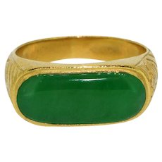 Vintage 22K Yellow Gold Green Jade Men's Saddle Ring Bezel Set