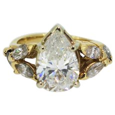 Vintage 3ct Pear Diamond in 14K Yellow Gold Engagement Ring with Marquise Side Stones