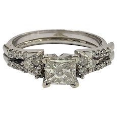Princess Cut Diamond Engagement Ring With Accented Wedding Band Guard in 14K White Gold