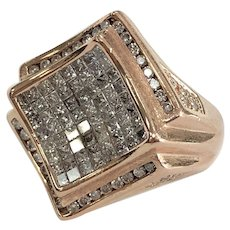 Invisible Set Square & Round Diamond Men's Ring in 14K Rose Gold