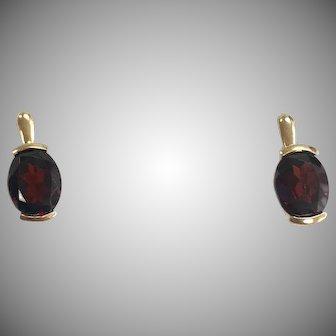 Mozambique Garnet Lever Back Earrings in 14K Yellow Gold