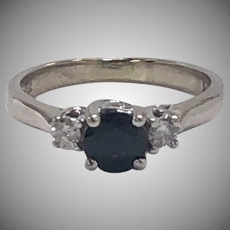 Blue Sapphire and Diamond 3 stone Ring in 14K White Gold