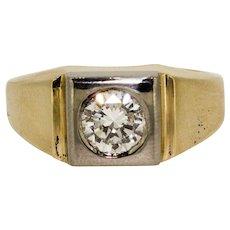 Vintage 14k Yellow Gold Diamond Solitaire Ring Bezel Set