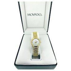 Exquisite 14k Yellow Gold Movado Ladies Watch, with Mother of Pearl Face