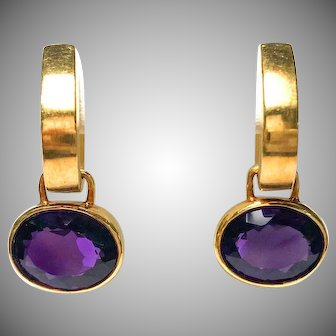 Vintage 18k Yellow Gold Oval Amethyst Drop Earrings with Click in Leverback