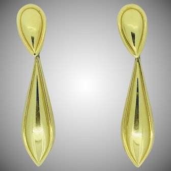 Vintage Long Tear Drop Dangle Stud Earrings 14K Yellow Gold