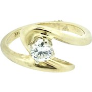 14K Yellow Gold & .25ct solitaire Diamond Right Hand Ring