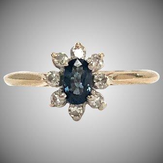 Blue Sapphire & Diamond Halo Ring in 14K Yellow Gold
