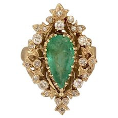 Vintage 2.75ct Natural Emerald & 0.42ctw Diamond Ring in 14K Yellow Gold