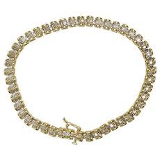 Vintage 10K Yellow Gold Diamond Ladies Tennis Bracelet