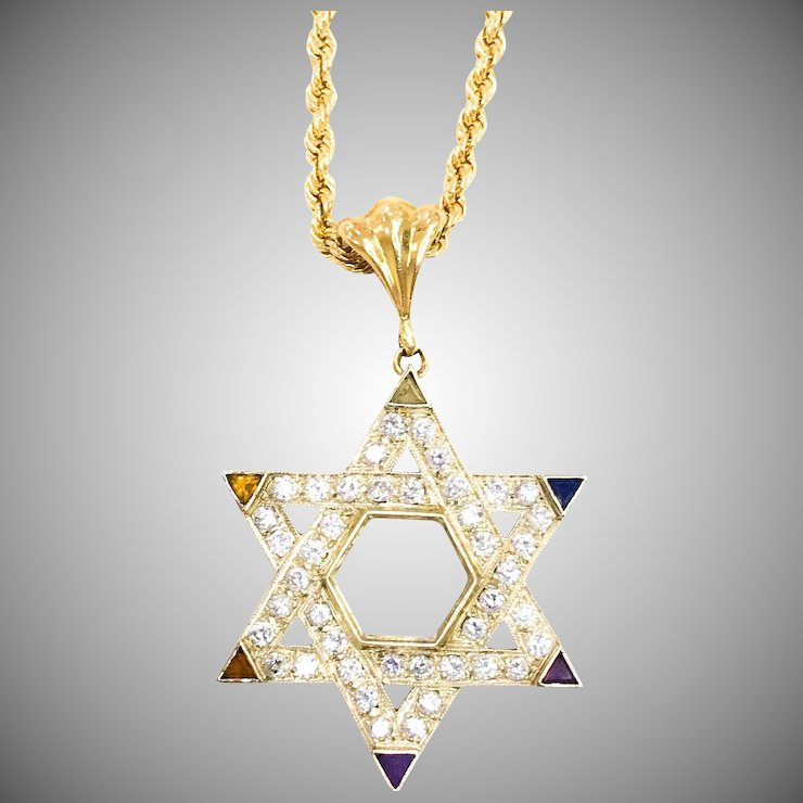 14kt white yellow gold star of david necklace treasures of white yellow gold star of david necklace aloadofball Choice Image