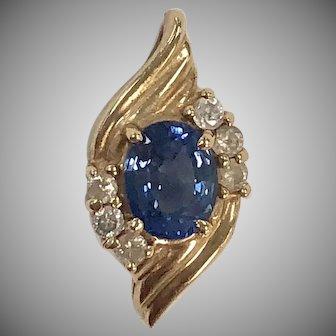 Vintage Blue Sapphire & Diamond Pendant in 14K yellow gold
