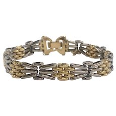 Ladies Platinum and 18K Yellow Gold Ladies Bracelet with Safety Chain