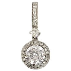 Moissanite and Diamond Halo Pendant for Necklace 14K White Gold