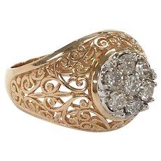 Vintage Diamond Cluster Filigree Ring in 14K Yellow Gold