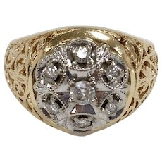 Vintage White Diamond Cluster Ring with Filigree in 14K Yellow Gold