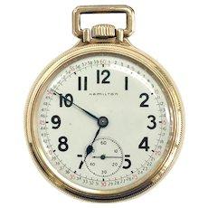 1925 10k Gold Filled Hamilton Railroad Pocket Watch