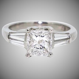 Vintage Platinum 1.2ct Diamond Princess Cut 3 Stone Engagement Ring with Baguette