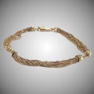 Multi Strand 14K Yellow Gold Bracelet with Barrel Clasp