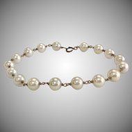 Vintage 6.5mm White Cultured Pearl Bracelet with 14K Yellow Gold Links