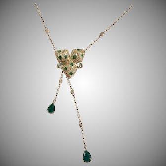 Emerald, Aquamarine, & Diamond Necklace in 14K Yellow Gold
