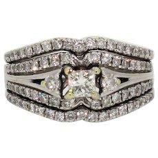 Vintage 14k White Gold Princess cut Diamond Wedding set with Accent Diamonds