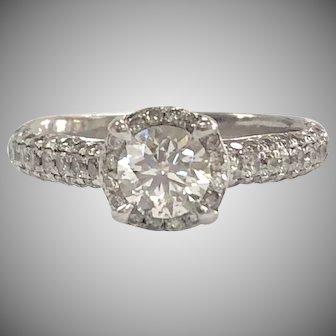 14K White Gold 1.5ctw Pavee Diamond Engagement Halo Style Ring