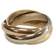 Vintage Cartier Trinity Rings in 18K Tri Colored Gold