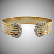 Tri Colored 14K Gold Cuff Bracelet with Diamond Accents