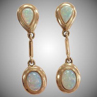 White Opal Dangle Earrings in 14K Yellow Gold Bezel
