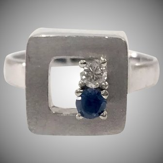 Diamond & Sapphire Box Ring in 18K White Gold