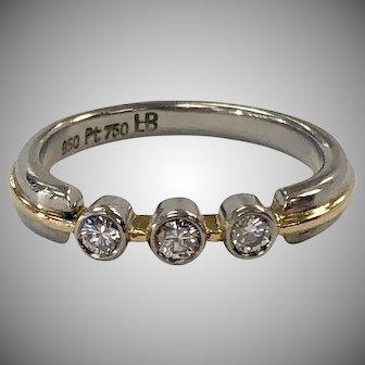 3 stone Diamond Ring in 18K Yellow Gold & Platinum Bezel
