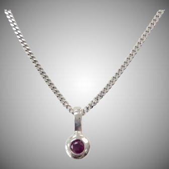 Bezel Set Ruby Necklace in 14K white gold