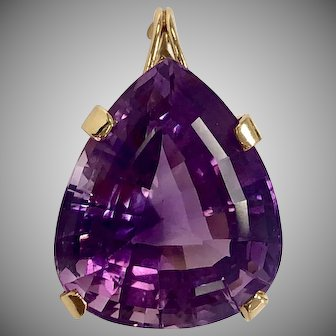 Vintage Pear Shaped Amethyst Pendant in 14K Yellow Gold Basket