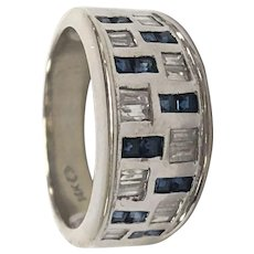 Sapphire and Diamond Baguette Band Ring in 14K White Gold