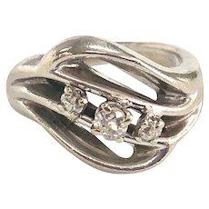Vintage 3 Diamond Pinky Ring in 14K White Gold