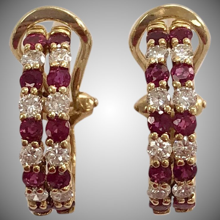 Vintage Ruby Diamond Hoop Earrings In 18k Yellow Gold